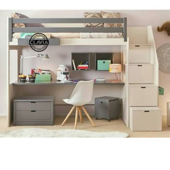 Jual Ranjang Susun multifungsi custome Multi purpose Loft Bed with stair - Jakarta Selatan - Clavia kitchen Interior | Tokopedia