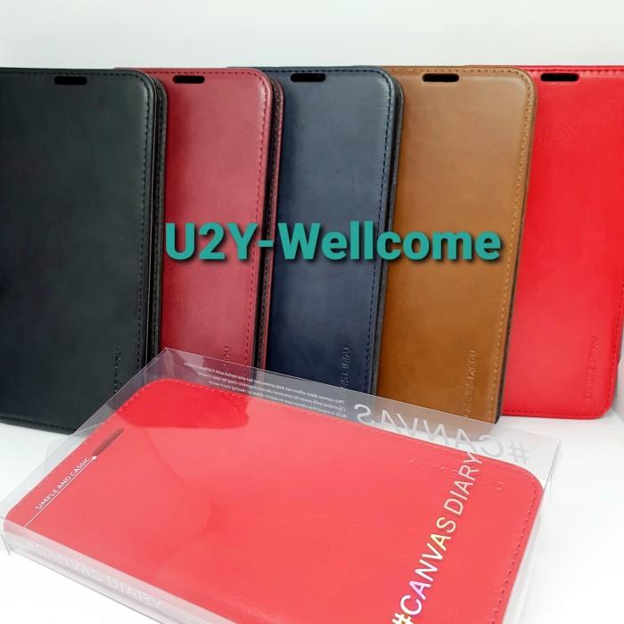 Foto Produk Samsung M20 Canvas Diary Flip Cover Case kulit Magnet dari U2Y-wellcome