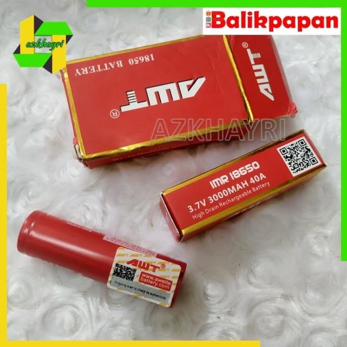Foto Produk Baterai AWT - 3000 mAH - battery batre - 3.7 V 18650 dari azkhayri