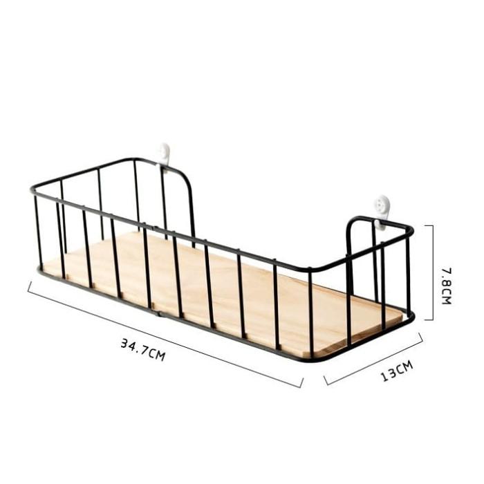 Foto Produk Haisel | rak gantung dinding penyimpanan ambalan kayu besi multifungsi dari Mendekor