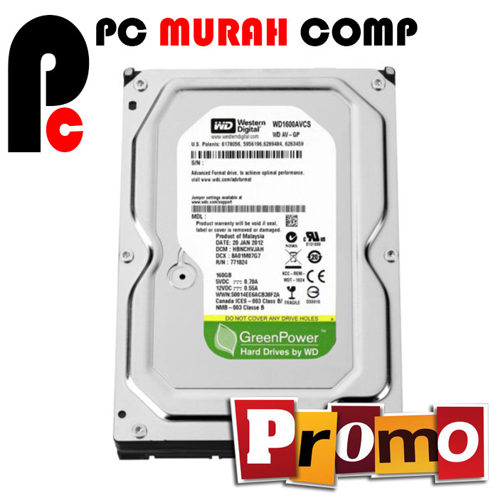 Foto Produk Hardisk Internal PC 160GB SATA WD GREEN dari Pc Murah Comp