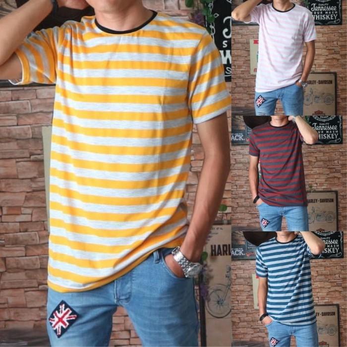 Foto Produk baju kaos distro pria salur stripe belang kekinian keren murah premium dari Man Store Gallery