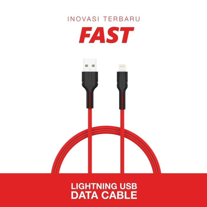 Foto Produk VEGER FAST Durable Data Cable USB Lightning For iPhone 1000mm - Merah dari Veger