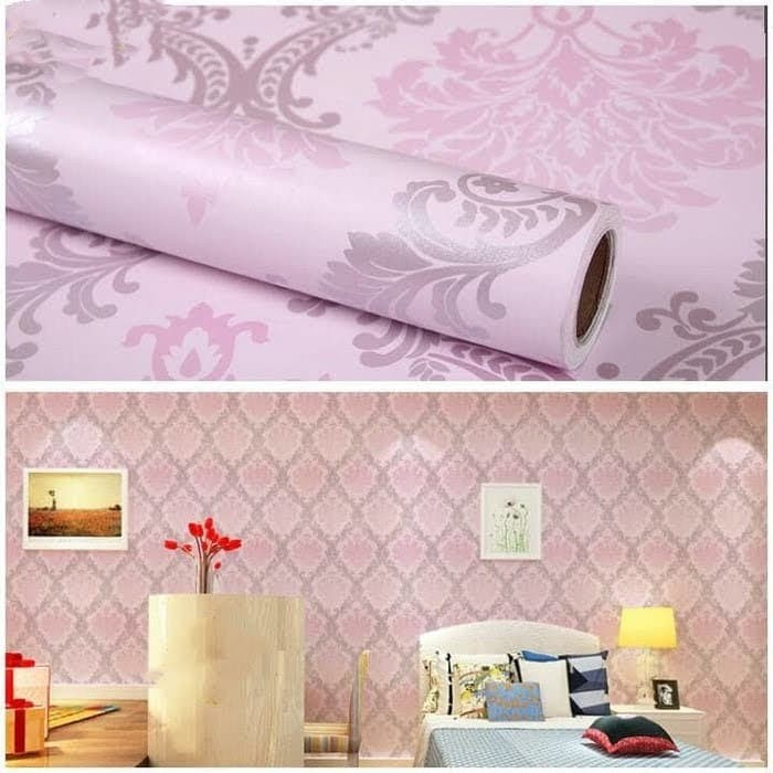 Jual Wallpaper Dinding Motif Batik Pink Cantik Jakarta Utara Kurniawanwallpaper Tokopedia