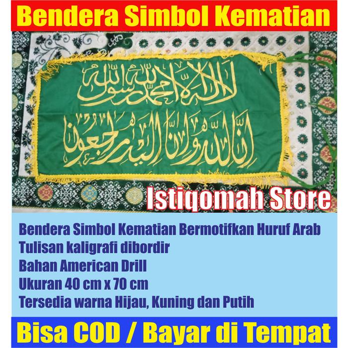 Foto Produk Bendera Simbol Kematian Warna Hijau Full Bordir Bertulisan Kaligrafi dari Istiqomah-Store