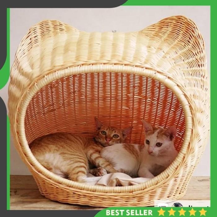 Foto Produk Kandang Rumah Kucing Anjing Hewan Rotan Alami Murah Senirattan - Natural dari Gallery Nusatara