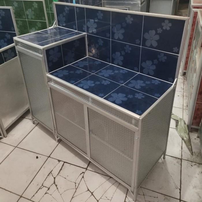 Desain Meja Dapur Island  jual meja kompor dapur 3 pintu rak piring model l keramik aluminium bagus kota tangerang meubel mebel jatake tokopedia