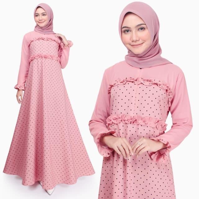 Foto Produk Gamis Wanita Original | Aida Polka | Dress Muslim Busui | Tazkia Hijab - Dusty pink dari Tazkia Hijab Store