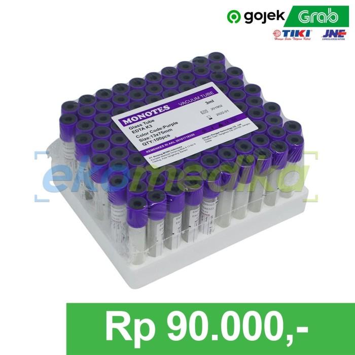 Foto Produk Tabung Darah | Blood Collection Tube | Vacutainer EDTA 3 ml MONOTES - Kaca - Glass dari EKO Medika