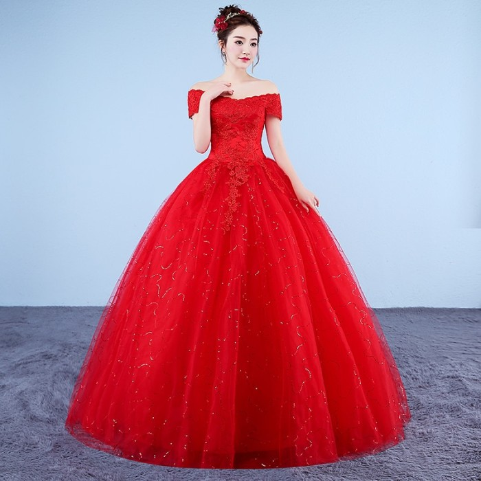Jual Xxn054 Ball Gown Lace Up Long Red And White Wedding Dress 2019 New Jakarta Pusat Cellular Jaya Tokopedia
