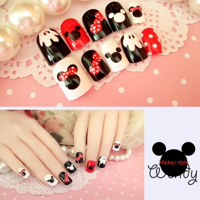 Jual New Arrival 24pcs Mickey Mouse Pattern Fake Nails Short Ova Black Whit Jakarta Barat Esmeraldadisney Tokopedia