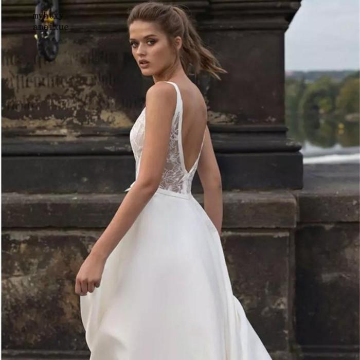 Jual 2019 Beach Cheap Wedding Dresses V Neck Lace Applqiues Sweep Train Kab Indramayu Ownertoko Tokopedia