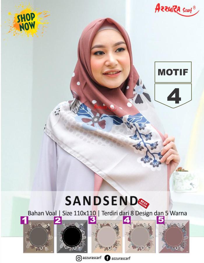 Jilbab segiempat sandsend voal motif 4 by azzura - hijab scarf square