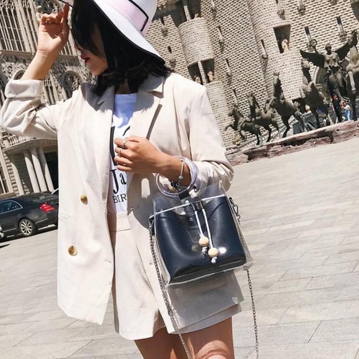 2acfd5b571c Jual 2 Set Tas Wanita Fashion Transparan Permen Warna Tas Bahu Ember ...