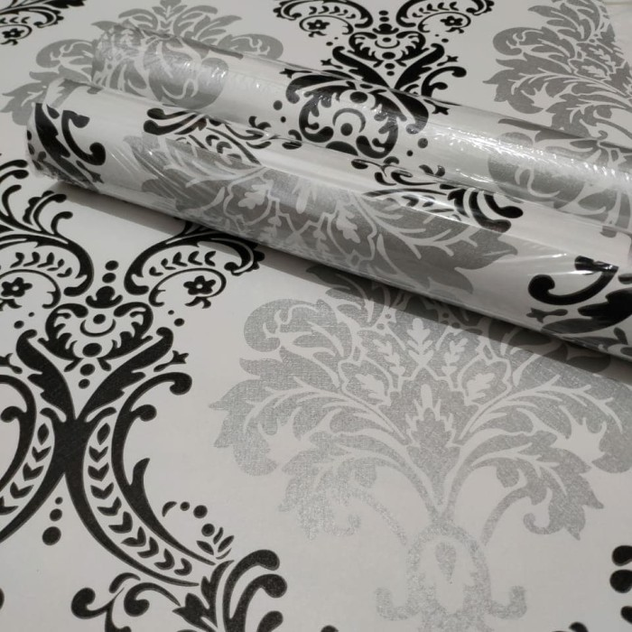 Jual Luxury Vintage Black Amp Silver 45 Cm X 10 Mtr Wallpaper