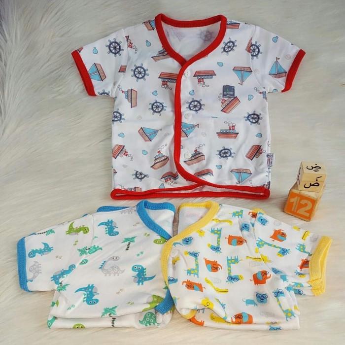 Jual Termurah Baju Bayi Laki Laki Atasan Lengan Pendek Kancing Depan Kaos 3 6 Bulan Kota Depok Zahan Baby Tokopedia