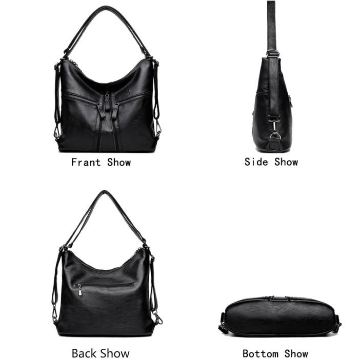 73a9202e2c10 Jual 3-in-1 Multifunction Back Pack Leather Women Bag Female Shoulder -  Kota Surabaya - Dragon_Mart | Tokopedia