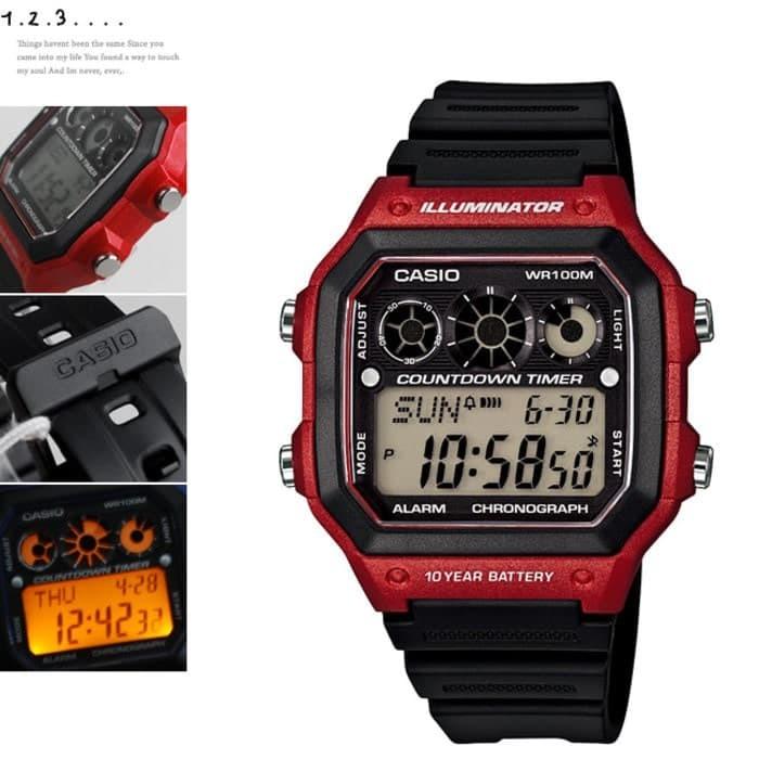 ... Jam Tangan Pria Casio Original AE 1300WH 4A Digital Karet Merah