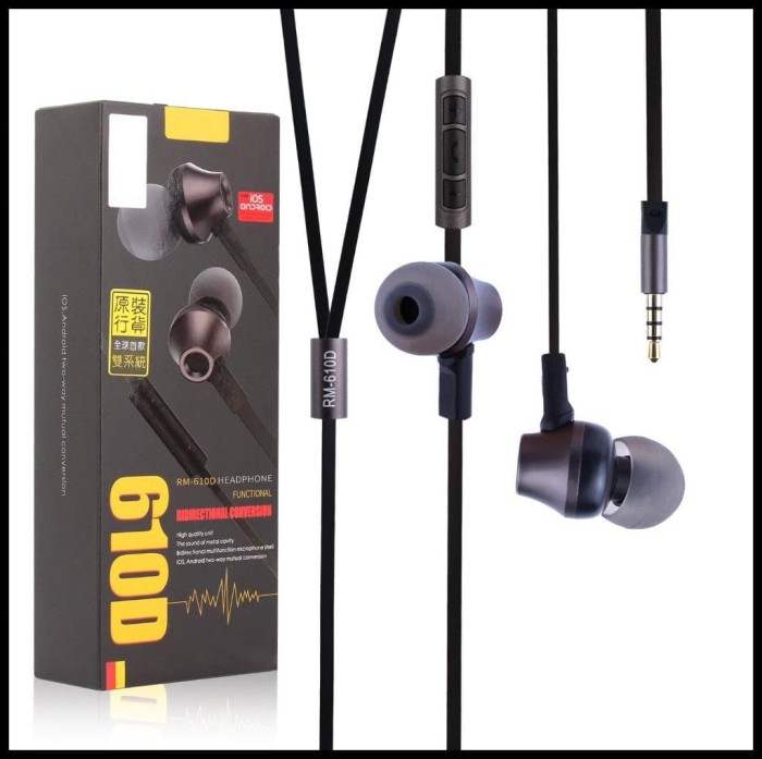 Remax Rm-610D Earphone With Microphone & Volume Control - Hitam