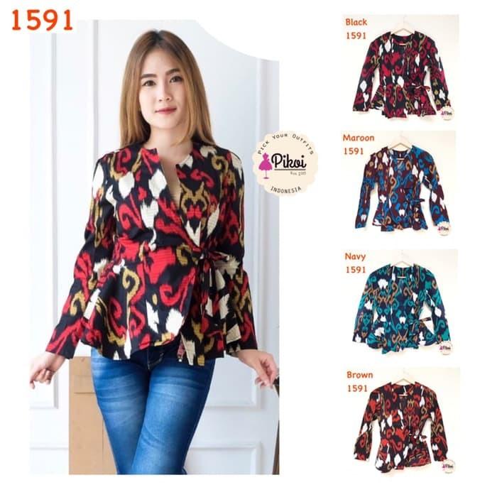 91 Model Baju Batik Modern Lengan Panjang Wanita Paling Hist