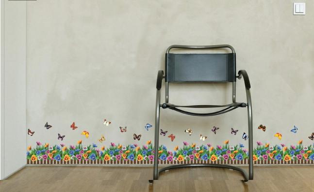 jual jual wall sticker bali ay882 jumbo - pagar bunga full colour
