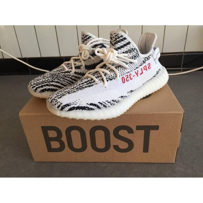 f695d8a986809 Jual sepatu sport ADIDAS Yeezy Boost V2 SPLY 350 Zebra Black White ...
