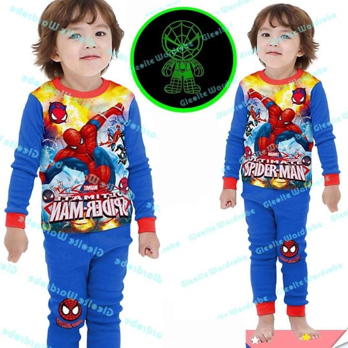 Piyama Spiderman Glow In The Dark Baju Tidur Anak Laki-laki Kaos - 6-7 tahun 6bff6801d2