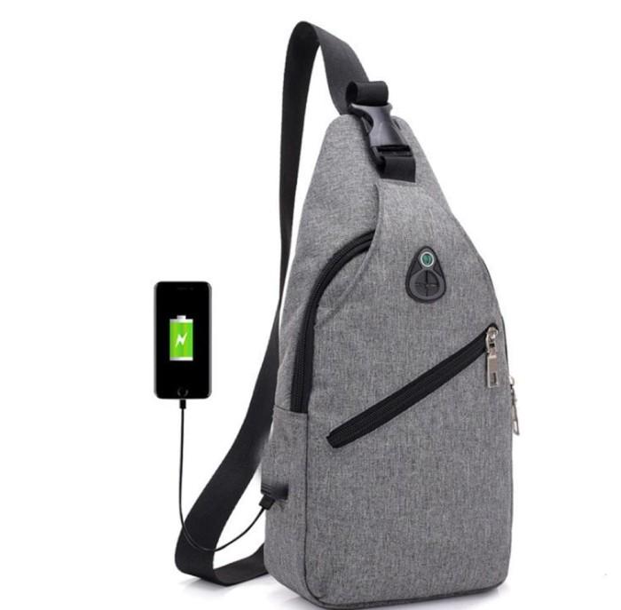 Tas selempang slempang pria USB chestbag Anti Maling Import SM13