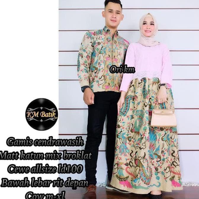 Jual Batik Couple Batik Sarimbit Gamis Brokat Cendrawasih Lengan Panjang Kota Surakarta Bebefast Store Tokopedia