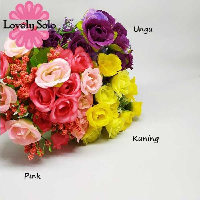 Daun Bunga Plastik Mawar Mini Artificial Setangkai Kembang Palsu -AF10 6ae057ff40