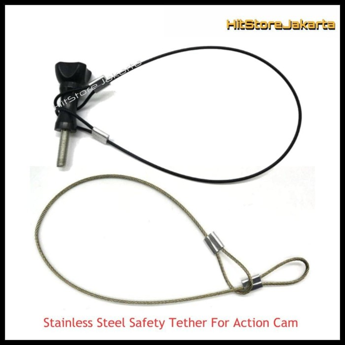 Action Camera Stainless Steel Tether Lanyard Safety Wire 30cm For Travel
