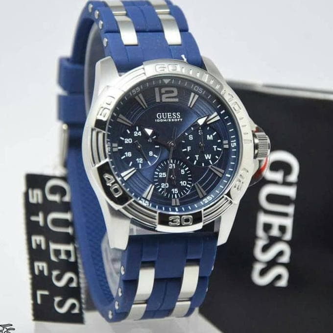 New Jam Tangan Pria Guess W0366G2 Rubber Original Produk Laris