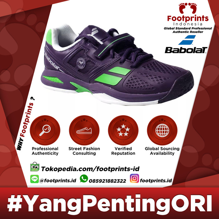 brand new 7e9d2 b02a2 Sepatu Tenis Anak Babolat Propulse Junior Wimbledon Purple Tennis