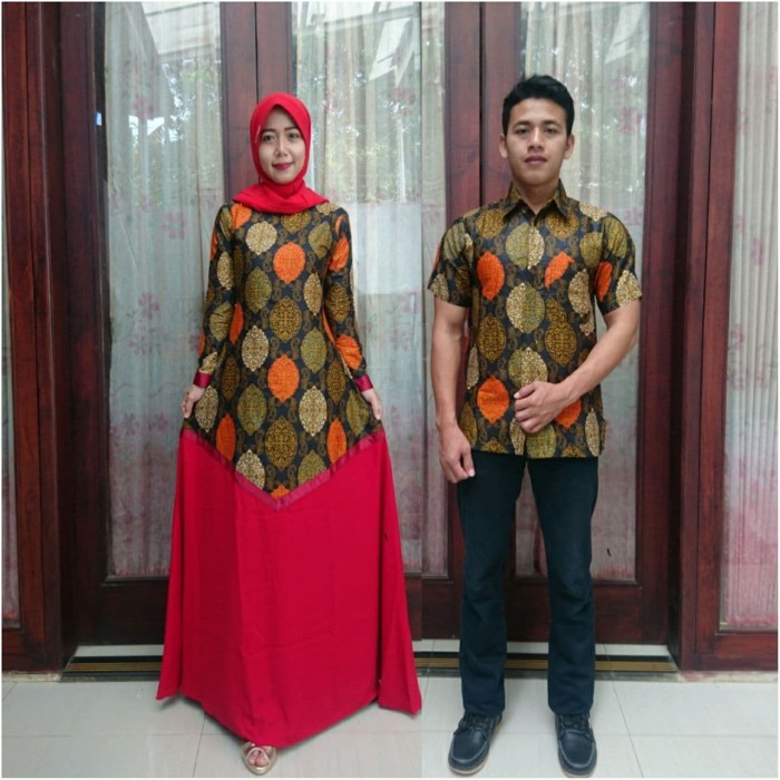 Jual Model Baju Batik Couple Kombinasi Polos Orange Kota Pekalongan Batik Putra Brawijaya Tokopedia