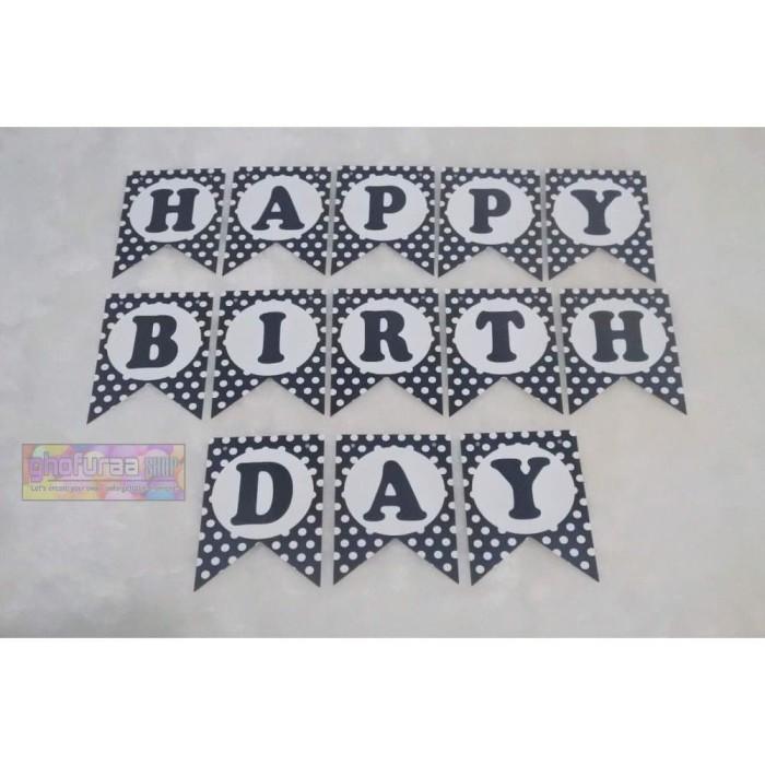 Banner HBD - Bunting Flag Happy Birthday Motif Polkadot Hitam Diskon