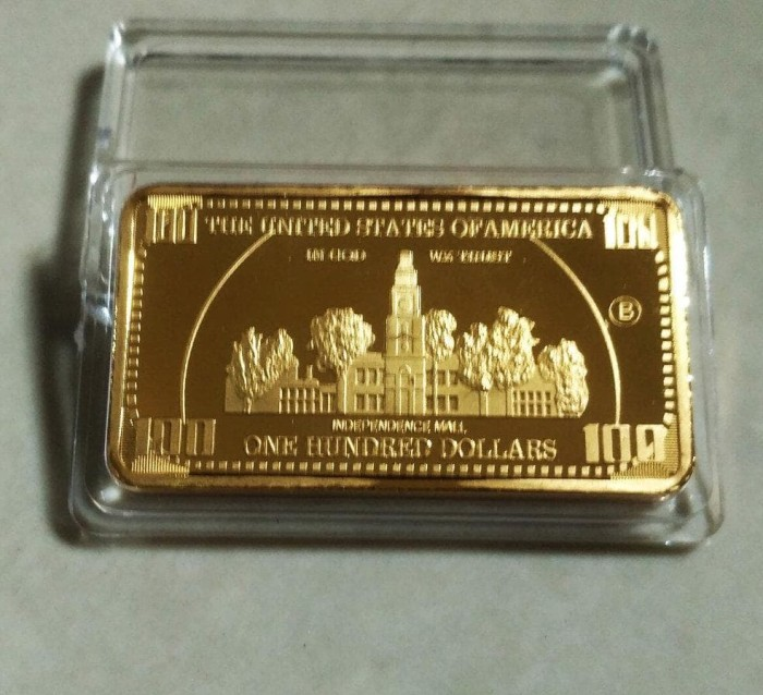 Jual Gold Bar 100 Usd Dollar Souvenir Replika Emas Batangan
