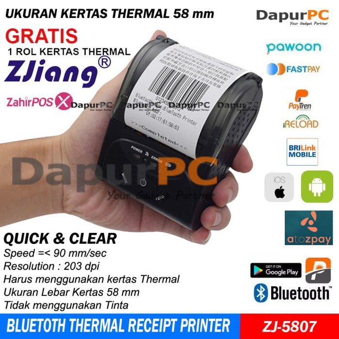 harga Mini portable bluetooth thermal receipt printer (zjiang 5807) Tokopedia.com