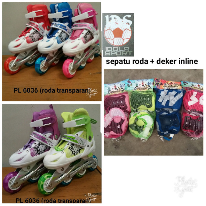 harga Sepatu roda / inline skate dan deker pengaman ungu ( free baut bajaj) Tokopedia.com