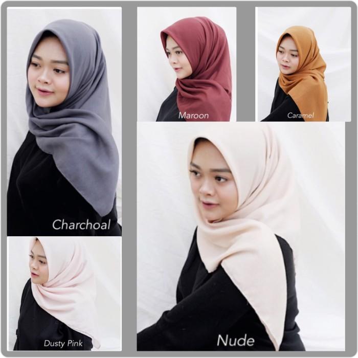 Basic voal hijab segiempat polos bahan soft voal