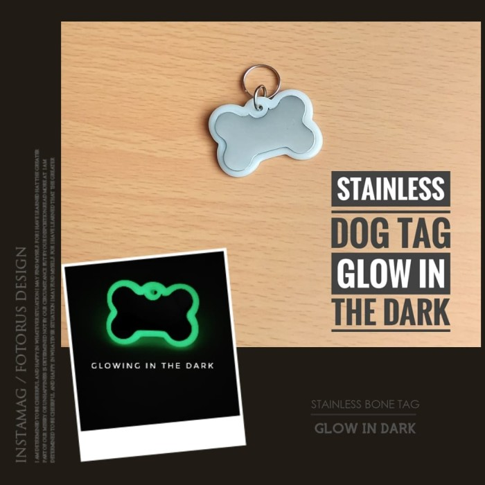 harga Dog tag / name tag stainless glowing in the dark Tokopedia.com