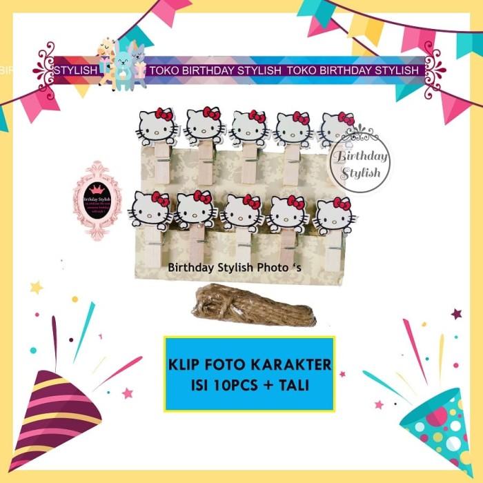 Foto Produk Penjepit Foto / Wooden Clip/ Klip Kayu Hello Kitty isi 10pcs dari Birthday Stylish