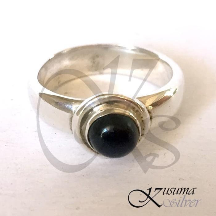 Jual Cincin Ring Perak Silver Bali Batu Hitam Bulat Polos Simple