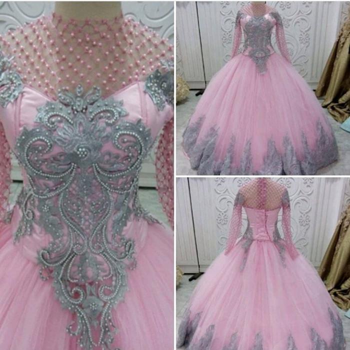 Jual Gaun Pengantin Baju Akad Nikah Pink Silver Kota Palembang Fresh Butik Tokopedia
