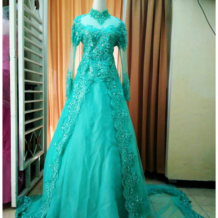 Jual Baju Kebayak Pengantin Warna Hijau Mint Kota Palembang Fresh Butik Tokopedia