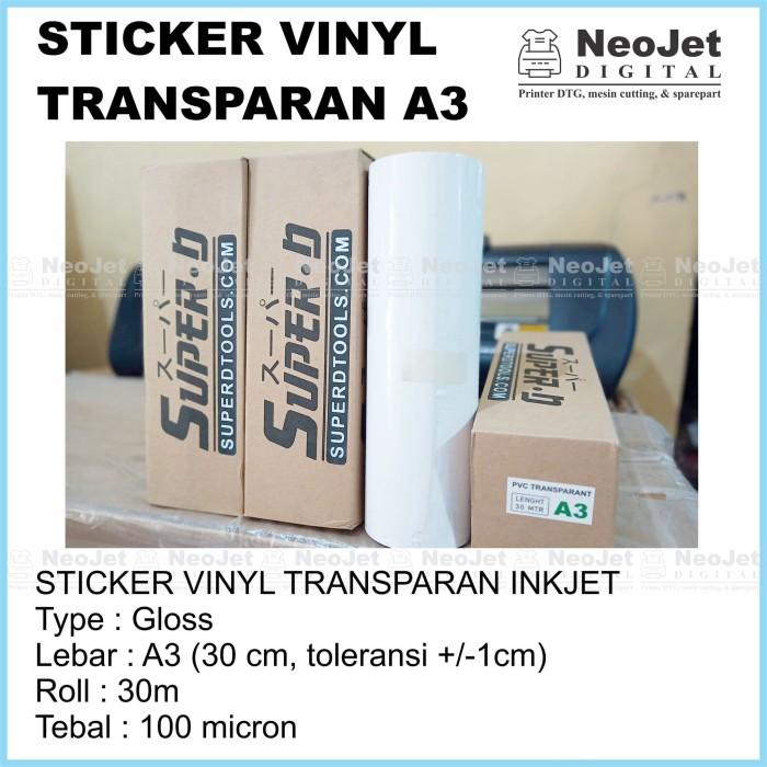 Sticker Stiker Vinyl Inkjet Transparan Bening Gloss A3 30 Meter