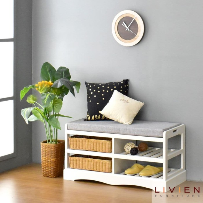 harga Kursi bangku rak sepatu - dynamic bench rak - livien furniture Tokopedia.com
