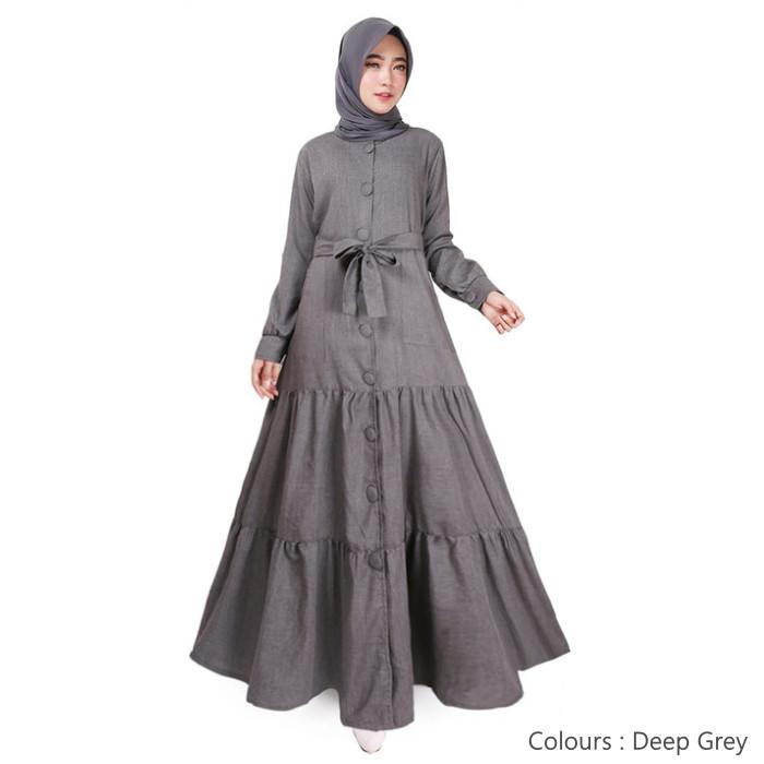 Foto Produk Gamis Muslim Original | Deanova Maxi | Deep Grey Supernova - Deep Grey dari Tazkia Hijab Store