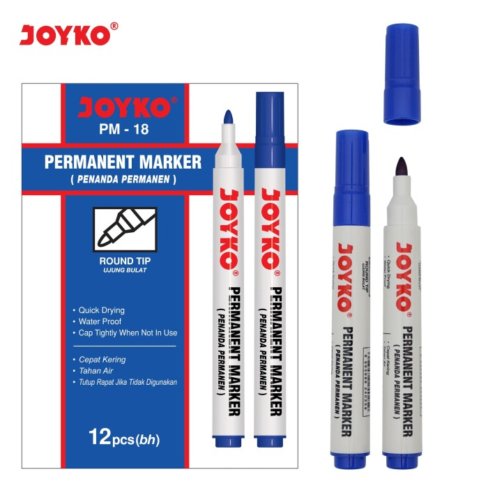 Permanent Marker / Spidol Permanen Joyko PM-18 / 1 BOX 12 PCS