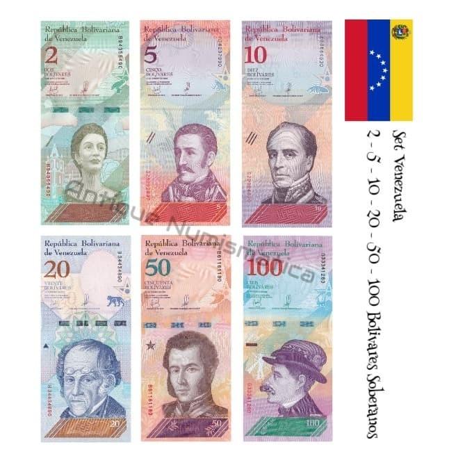 VENEZUELA 5 /& 2 Bolivares x 2 UNC Banknote Set
