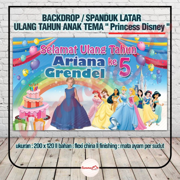 Jual Backdrop Spanduk Latar Ulang Tahun Anak Tema Princess Disney Kota Tangerang Lemmedo Tokopedia